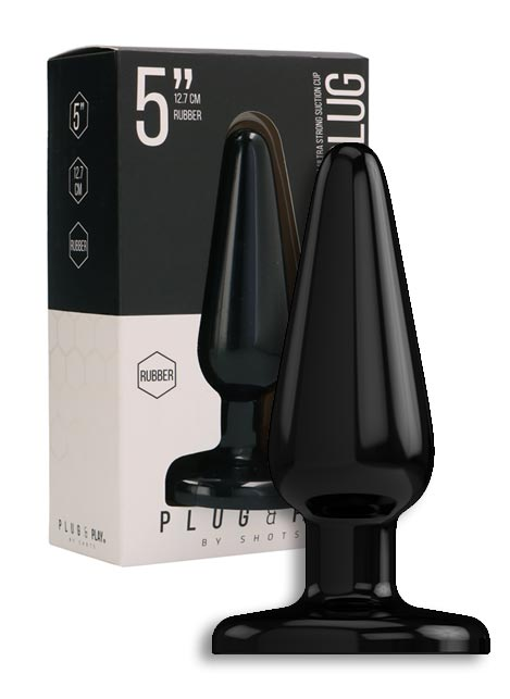 Plug & Play Rubber Butt Plug Black 3 inch