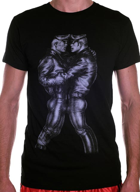 Tom of Finland Leather Duo T-Shirt Black Small