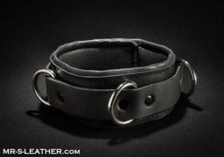 Mr. S Neoprene Locking Bondage Collar Black