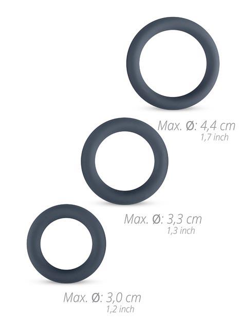 Boners Silicone 3-Piece Cock Ring Set Grey