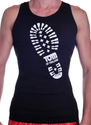 Tom of Finland Boot Print Tank Top Black Small