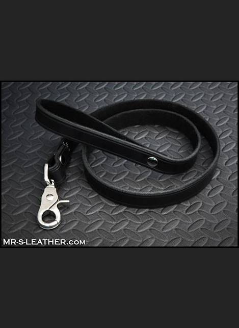 Mr. S Leather All Leather Leash Black