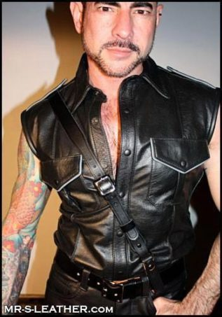 Mr. S Leather Sam Browne Smooth Black Silver 52""