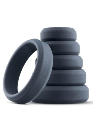 Boners Silicone 6-Piece Wide Cock Ring Set Grey