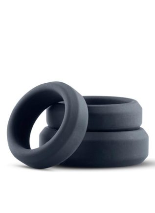 Boners Silicone 3-Piece Wide Cock Ring Set Grey