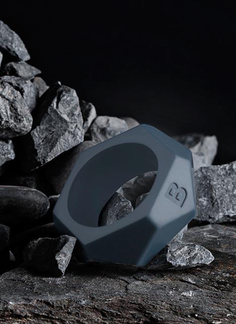 Boners Silicone Diamond Cock Ring Grey