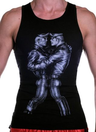 Tom of Finland Leather Duo Tank Top Black Large