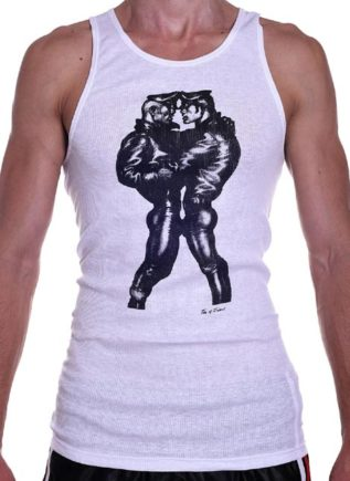 Tom of Finland Leather Duo Tank Top White Small