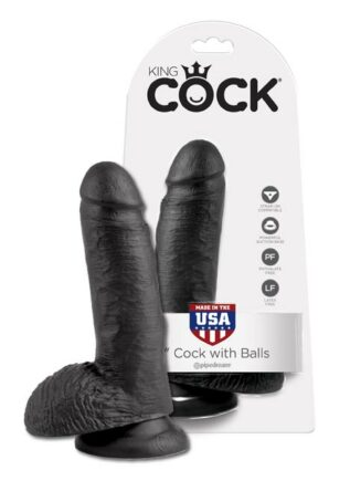Pipedream King Cock Dildo with Balls Black 8 inch