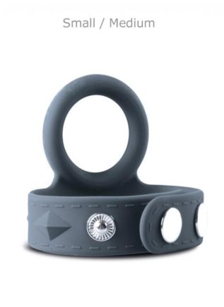Boners Silicone Cock Ring & Ball Strap Grey Small / Medium