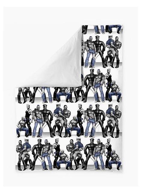 Tom of Finland Satin Duvet Covers Blue Squad 150 x 210 cm