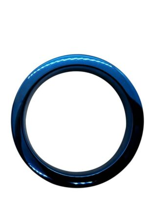Black Label Stainless Steel Blue Flat Body Cock Ring 40 mm