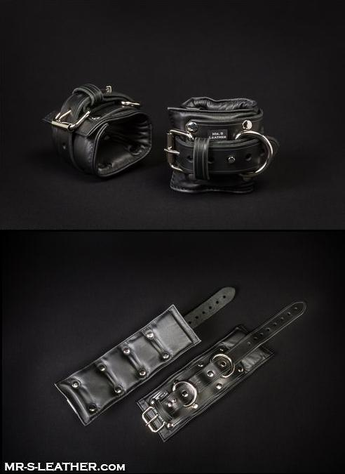 Mr. S Fetters Leather Padded Wrist Restraints Black