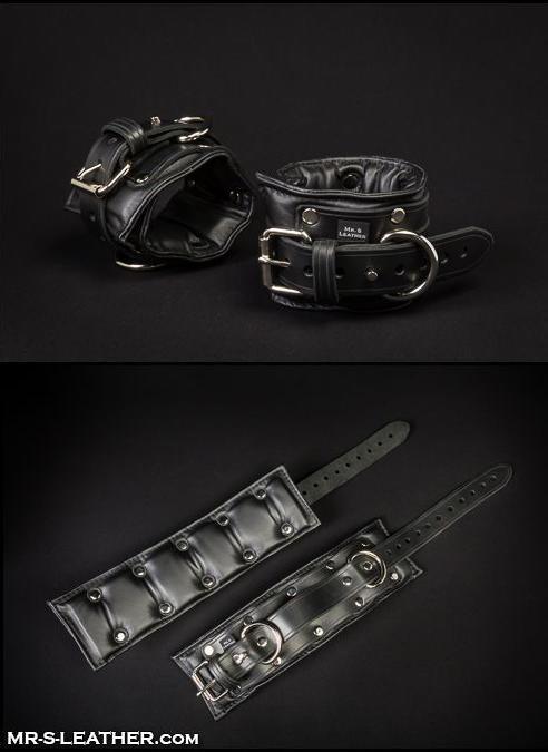 Mr. S Fetters Leather Padded Ankle Restraints Black