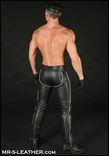 Mr. S Leather Piped Chap Pant White 34