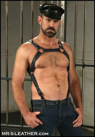 Mr. S Leather Crossbow Body Harness Piped Blue Small / Medium