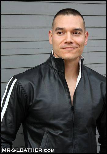 Mr. S Leather Sport Jacket White Stripes Medium