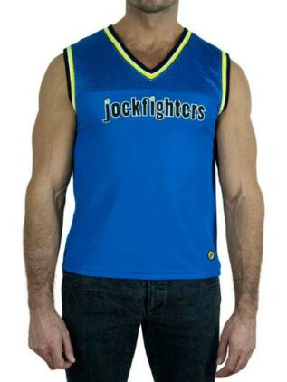 Jockfighters Basketball sleeveless shirt blue small