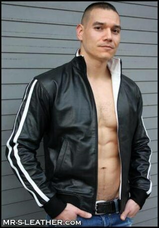 Mr. S Leather Sport Jacket White Stripes Medium