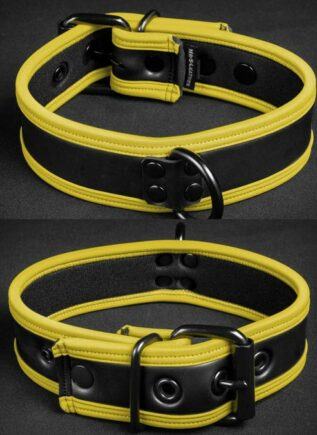 Mr. S Neoprene Puppy Collar Yellow piping Small/Medium