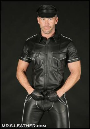 Mr. S Leather Piped Short Sleeve Police Shirt White Large