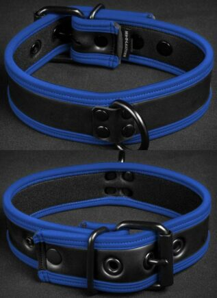 Mr. S Neoprene Puppy Collar Blue piping Large/Extra large