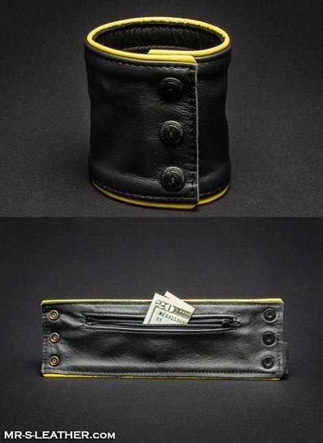 Mr. S Leather Wristband Zipper Pocket Yellow Small