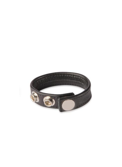 Black Label 3 Snap Leather Cock Strap
