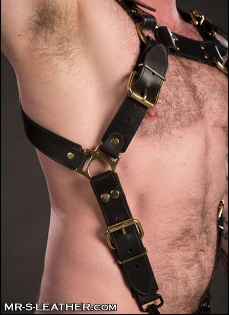 Mr. S Leather Trojan Body Harness Latigo Brass Small / Medium