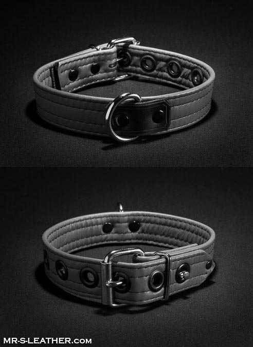 Mr. S Leather Puppy Collar Grey