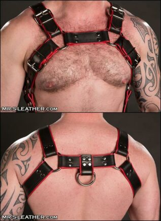 Mr. S Leather Piped Trojan Body Harness Blue Large / Extra large