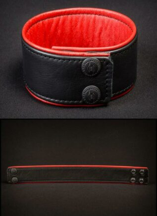 "Mr. S Leather Bicepband 1.75"" Piped Red Small"
