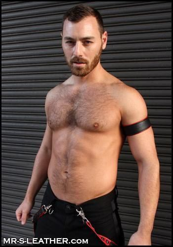 """Mr. S Leather Bicepband 1.75"""" Piped Red Small"""
