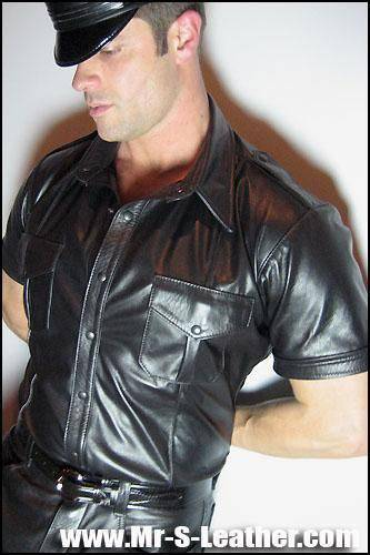Mr. S Leather Short Sleeve Police Shirt Black Small