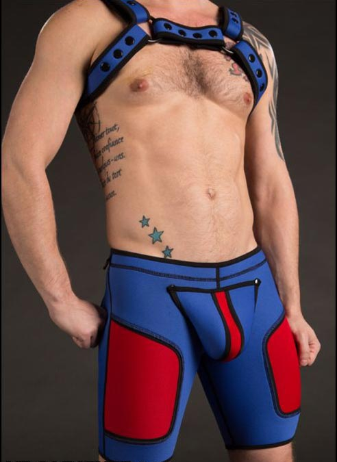 Mr. S Neoprene All Access Play Short Custom edition Blue / Red Medium