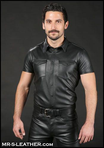 Mr. S Classic Leather Shirt Black Medium