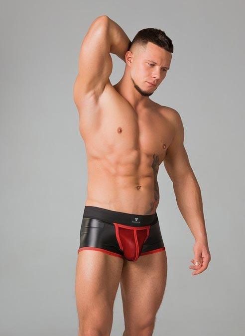 Maskulo Vinyl Boxer Short Zippered Rear Red Extra Large