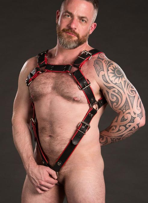 Mr. S Leather Piped Trojan Body Harness Cockstraps White Made to Fit