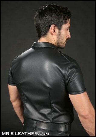 Mr. S Classic Leather Shirt Black Medium