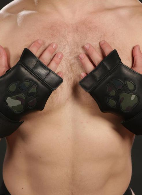 Mr. S Leather Open Paw Puppy Glove Camo