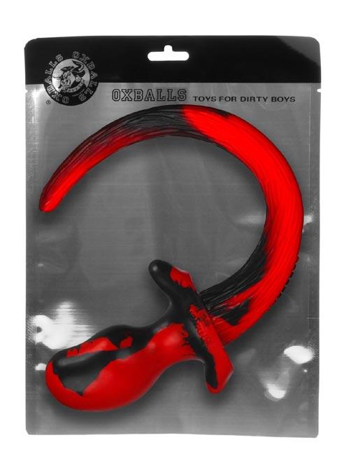 Oxballs Color Swirl Puppy Tail Silicone Red Bulldog (L)