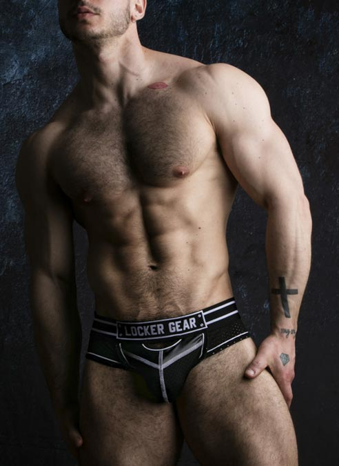Locker Gear Briefjock with Front Opening White Large