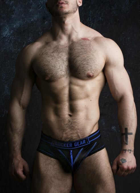 Locker Gear Briefjock with Zipper Blue Large