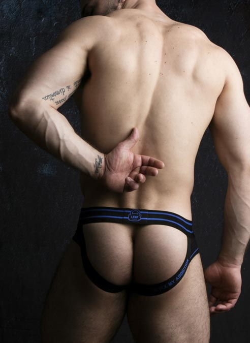 Locker Gear Briefjock with Front Opening Blue Extra Large