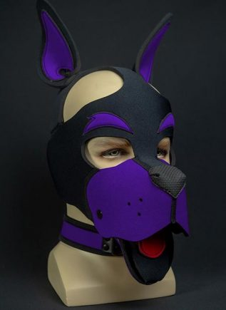 Mr. S Neoprene WOOF! Head Harness Purple