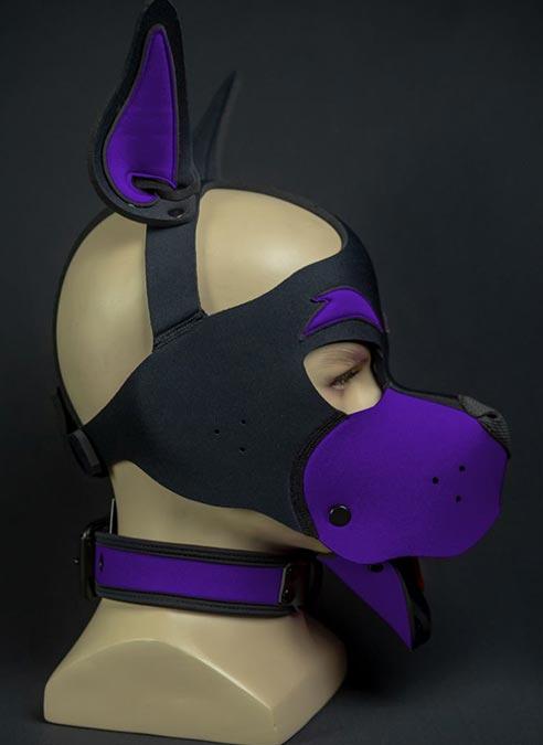 Mr. S Neoprene WOOF! Head Harness Purple