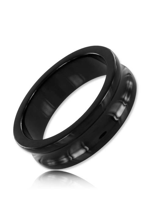 Black Label Stainless Steel Black Belowed Cock Ring 40 mm
