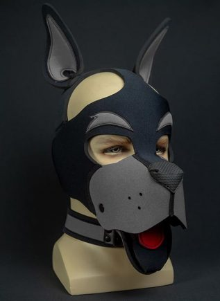 Mr. S Neoprene WOOF! Head Harness Grey