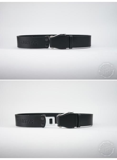 TARTAR Wide Belt Black Leather - Silver Buckle - Silver Studs