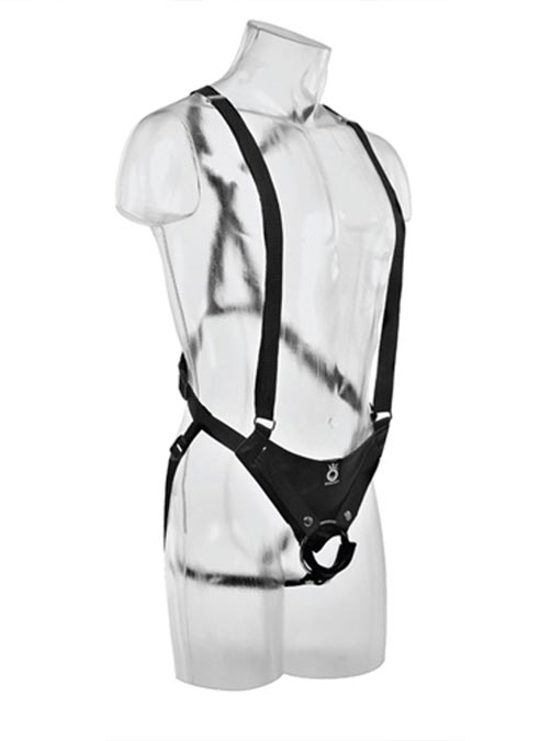 Pipedream King Cock Two Cock One Hole Hollow Strap-on Harness Suspender Style Black 11 inch